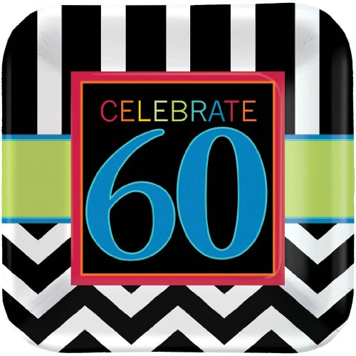 """Amscan Trendy Square Plate with 60th Celebration Theme, Black/White/Yellow Green/Blue, 7"""""""