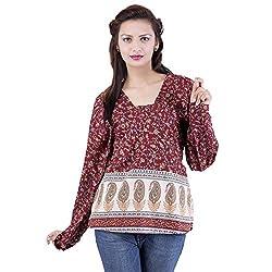 Jaipur Kala Kendra Women's Casual Wear Maroon Cotton Top
