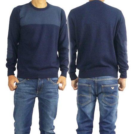 (アルマーニジーンズ)ARMANI JEANS メンズクルーネックセーター U6W08 KF ネイビー [並行輸入商品]