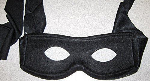 Zorro Black 1/2 Mask with Ties - Masked Bandit