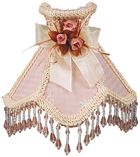 Buy Discount Royal Designs Beaded Pink Victorian Nightlight w/ Designer Fabric & Trim, w/ Bow & Flor...