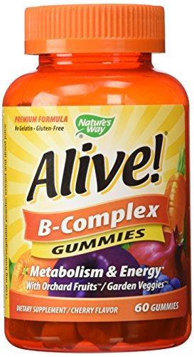 Nature's Way Alive B-Complex Gummies Supplement, Cherry, 60 Count