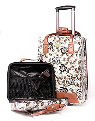 LTC Vintage Floral Brown 2 Pieces Luggage Set of Cabin Wheeled Case and Vanity/Tablet Case