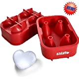 SNIGLE SILICONE ICE/CHOCOLATE MOLDS, 3D HEART MAKER ★FREE BONUS Silicone Funnel and 4 Heart Silicone Cupcake Liners ★ This Amazing Silicone Ice Tray Will Upgrade the Way You Drink