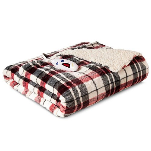 Biddeford 4493-9062183-744  Electric Heated Velour with Sherpa Throw, 50-Inch by 62-Inch, Linen Plaid (Biddeford Heated Throws compare prices)