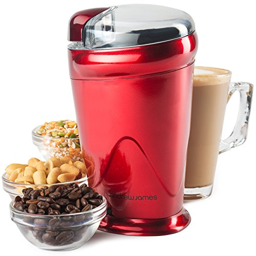 Andrew James <strong>Coffee, Nut and Spice Grinder In Red - Powerful 150 Watt, Stainless Steel Blades, Includes 2 Year...