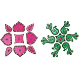 Snehal Arts Plastic Rangoli (SA-51, 23 Cm X 23 Cm X 0.3 Cm, Pink & Green, Set Of 16)