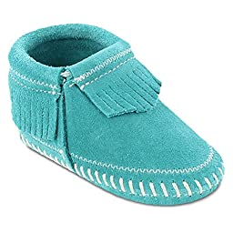 Minnetonka Infant-Girls\' Riley Moccasin Booties Turquoise 1 M US