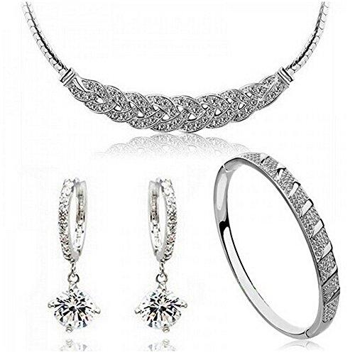 HSG Popular Luxury Waltz Sliver White Jewelry Set Necklace & Bracelet & Earrings JM2145 (Earrings And Bracelet Set)