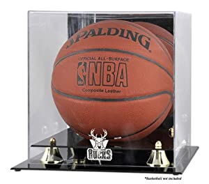 Mounted Memories Milwaukee Bucks Golden Classic Team Logo Basketball Display Case by Mounted Memories