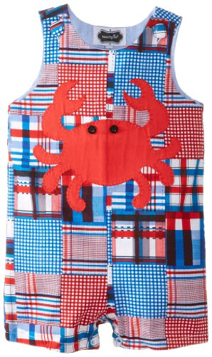 Mud Pie Baby-Boys Infant Madras Crab Shortall, Multi, 12-18 Months front-1049966