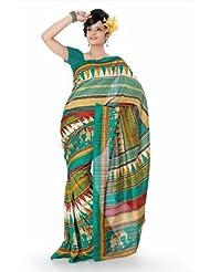 Designersareez Women Bhagalpuri Silk Printed Multicolor Saree With Unstitched Blouse(828)