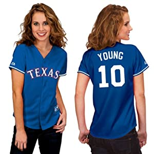 Michael Young Texas Rangers Alternate Royal Ladies Replica Jersey by Majestic by Majestic