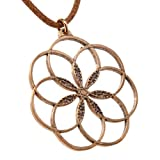 7 Rings of Peace Peace Bronze Pendant Necklace on Adjustable Natural Fiber Cord