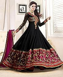 Shree Khodal Women's Black Georgette Dress Material [SK_JCN1034B]