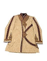 AARYA Boy IndoWestern Golden Banaras Silk Angrakha Style Sherwani