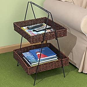 Amazon Com 2 Tier Seagrass Basket Ladder Stand Office