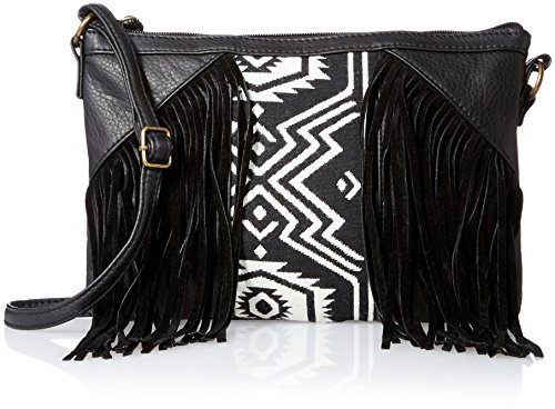 T-Shirt & Jeans Printed Center Fringe Cross Body, Black, One Size