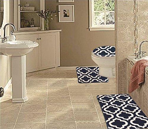 WPM 3 Piece Multi Color Bath Mat Set-bathroom Mat Contour