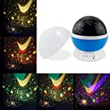 Sun And Star lighting Lamp 4 LED beads 360 Degree Romantic Room Rotating Cosmos Star Projector - Lights Lamp Starry Star Moon Sky Night Projector Lamp Kids Bedroom Lamp for Christmas (Blue)