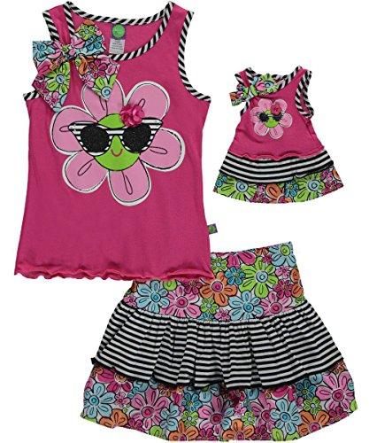 Dollie & Me Little Girls' Sunshine Daisy Skirt Set, Pink/Multi, 6