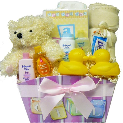 It's A GIRL New Baby Gift Basket with Teddy Bear