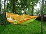 BIKMAN Outdoor Mosquito Net Hammock Widened Parachute Cloth Parent-child Double Hammock (yellow and green)