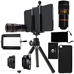 CamKix Camera Lens Kit for iPhone 6 Plus / 6S Plus ONLY including an 8x Telephoto Lens / Fisheye Lens / 2in1 Macro and Wide Angle Lens / Tripod / Phone Holder / Hard Case / Velvet Bag / Cleaning Cloth