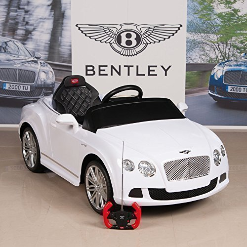 Bentley GTC 12V Kids Ride On Battery Powered Wheels Car RC Remote, White