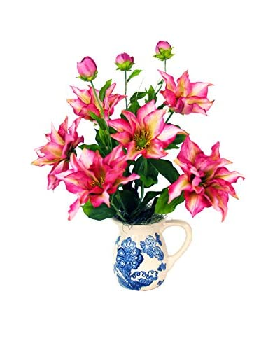 Creative Displays Inc. Clematis Delft Pottery Pitcher, Pink/Blue/White