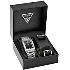 GUESS Leather Strap Boxed Set Mens Watch U95044G2