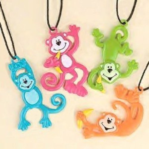 Pack Of 12 Monkey Necklaces ~ Assorted Neon Colors - Party Favors
