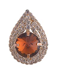 Chola Rain Drop Shaped Brooch With Antique Gold Big Stone In The Centre And Small Crystals On The Outer Rings...