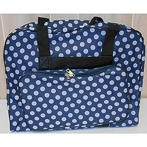 Hemline Dotty Sewing Machine Bag in Navy Polka Dot from hemline