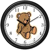 Plain Teddy - Bear Animal Wall Clock by WatchBuddy Timepieces (Black Frame)