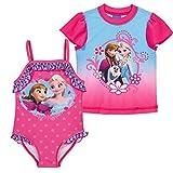 Frozen 2-Piece UPF 50 Size 5/6 Rash Guard Swimsuit & Disney Frozen Beach Towel Set