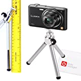 DURAGADGET Portable Lightweight Collapsible Mini Camera Tripod + BONUS Cleaning Cloth For Panasonic HC-V727EG-K Panasonic DMC-G6KEB-K / G6, DMC-GF6KEB-K Lumix G / GF6, Lumix DMC-F5 & Panasonic Lumix LZ20
