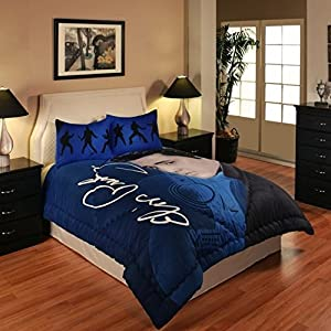 Dancing Elvis 3 Piece Queen/full Size Set, 1 Comforter, 2 Pillow Shams in Blue