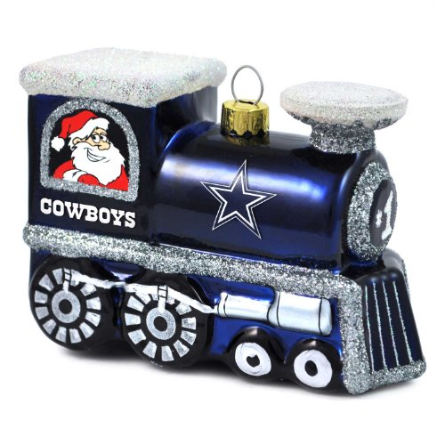 NFL Dallas Cowboys Blown Glass Train Ornament