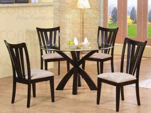 Cheap 5pc Casual Dining Table & Chairs Set with Glass Top Cappuccino Finish (VF_Dinset-101071-101072)