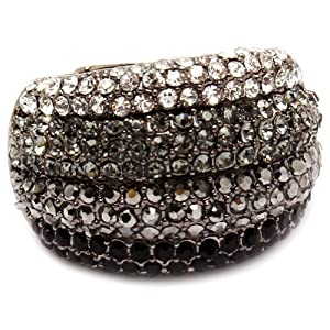 Glamorous Dome Style Cocktail Fashion Statement Ring with Black, Gray and Clear Crystals - Stretch Band