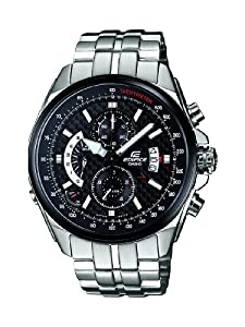 Casio Edifice Men's Quartz Watch with Black Dial Analogue Display and Silver Stainless Steel Bracelet EFR-501SP-1AVEF