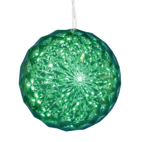 Green LED Lighted Hanging Crystal Sphere Ball
