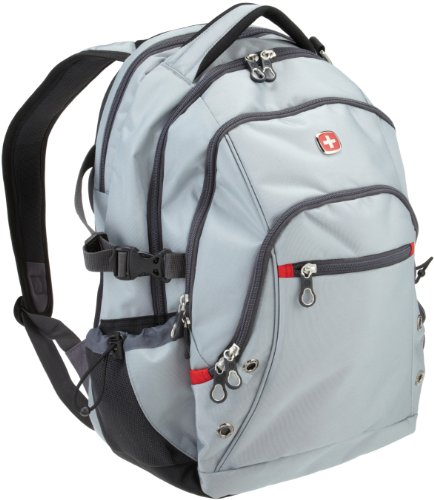 SwissGear SA1109 Silver Gray with Swiss Red Accents Backpack