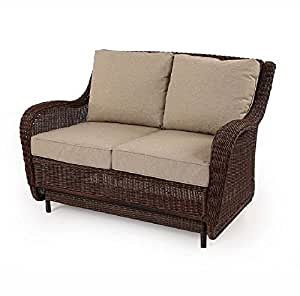 Outdoor Patio Wicker Love Seat Cushion Glider With Tan Color Sea