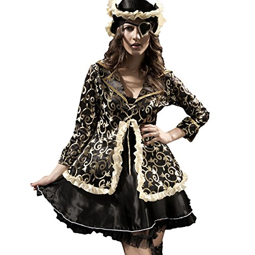 Dear-lover Women's Sexy Slim Halloween Pirate Game Costume Uniforms