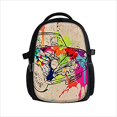 Backpack for Girls Boys Women Men Kids - Padded Bag College School Highschool Teen Schoolbag with Laptop Pocket Cool for Teens Hiking Beach City Sports colourful Flowers Butterflies black pink red blue comfortable Back Pack from durable Canvas Fabric
