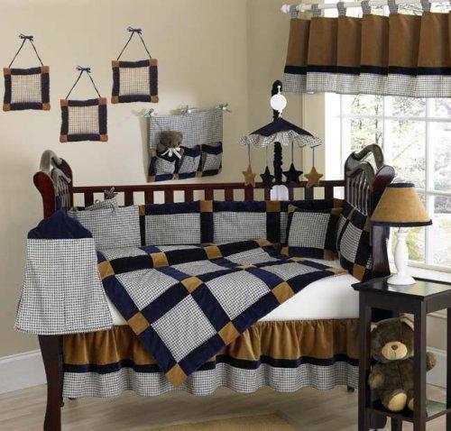JoJo Designs 9-Piece Baby Crib Bedding Set - Velvet Dreams Blue and Brown