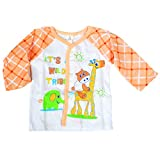 Baby Bucket Full Sleeve Front Open Animal Printed Jabla New Born (Peach)