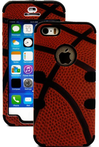Mylife (Tm) Black + Basketball Print 3 Layer (Hybrid Flex Gel) Grip Case For New Apple Iphone 5C Touch Phone (External 2 Piece Full Body Defender Armor Rubberized Shell + Internal Gel Fit Silicone Flex Protector + Lifetime Waranty + Sealed Inside Mylife A
